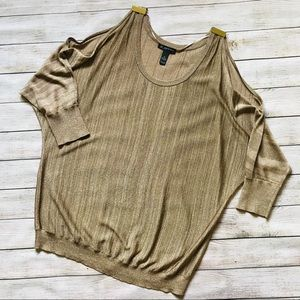 INC | Cold Shoulder Metallic Gold Tunic Sweater